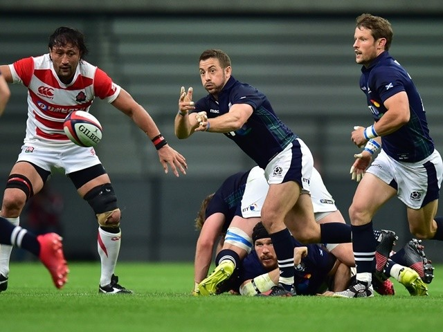 Greig Laidlaw of Scotland passes the ball during the international friendly match against Japan on June 18, 2016