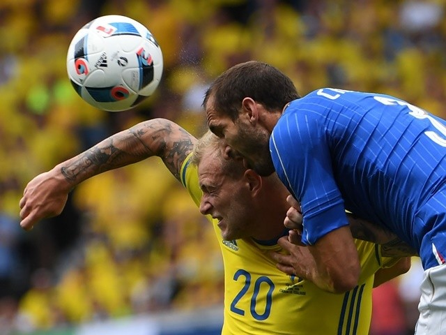 John Guidetti and Giorgio Chiellini in action during the Euro 2016 Group E match between Italy and Sweden on July 17, 2016