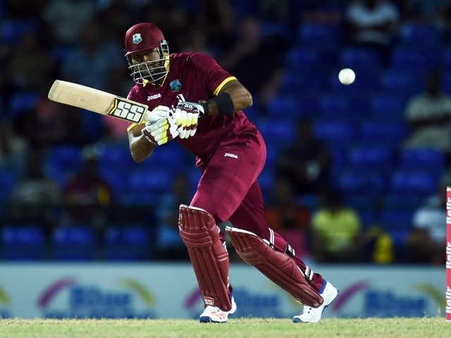 Kieron Pollard plays a shot during the sixth ODI of the Tri-Series between West Indies and South Africa on June 15, 2016
