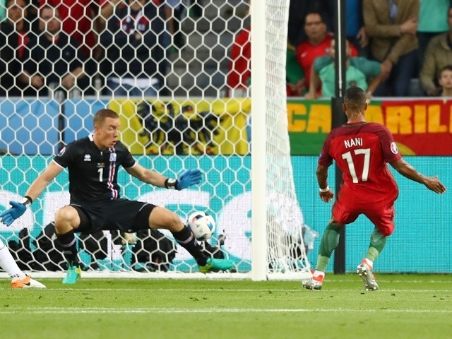 Nani scores during the Euro 2016 Group F game between Portugal and Iceland on June 14, 2016