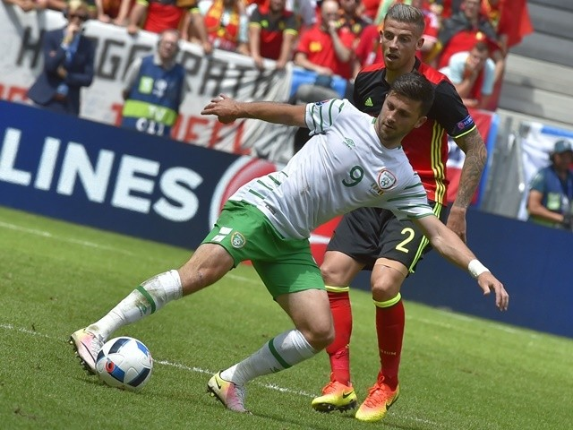 Toby Alderweireld and Shane Long in action during the Euro 2016 Group E match between Belgium and Republic of Ireland on July 18, 2016