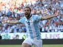 Gonzalo Higuain of Argentina celebrates his goal during the 2016 Copa America Centenario quarterfinal match against Venezuela at Gillette Stadium on June 18, 2016