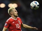 Aaron Ramsey eyes the ball during the Euro 2016 Group B match between Russia and Wales on June 20, 2016