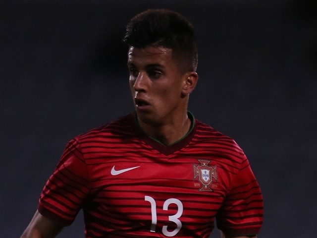 Portugal defender Joao Cancelo in action during the U21 international friendly against Denmark on March 26, 2015