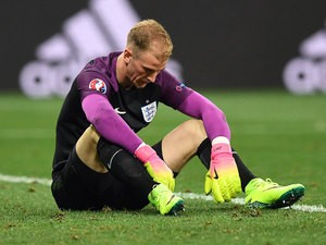 England's goalkeeper Joe Hart reacts after England lost 1-2 to Iceland in the Euro 2016 round of 16 football match between England and Iceland at the Allianz Riviera stadium in Nice on June 27, 2016