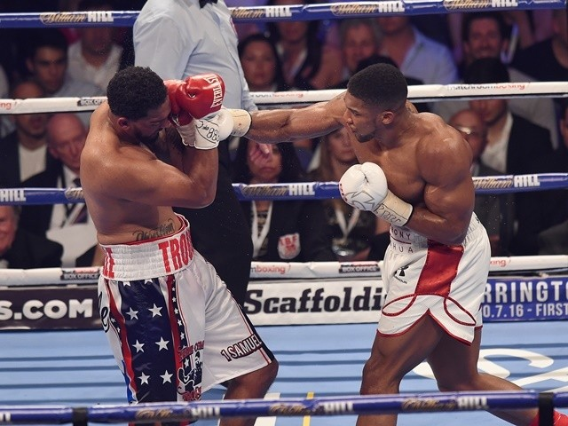 Anthony Joshua and Dominic Breazeale during their bout for the IBF world heavyweight title at the O2 Arena on June 25, 2016