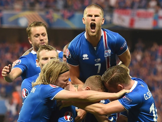 Iceland celebrates a goal during Euro 2016 round of 16 football match between England and Iceland at the Allianz Riviera stadium in Nice on June 27, 2016
