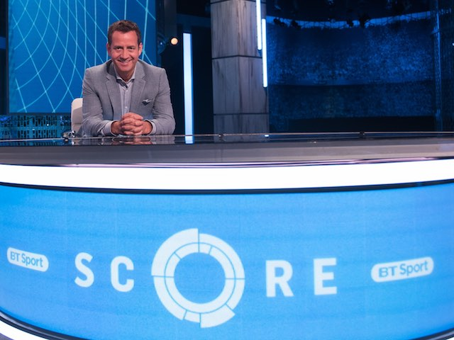 Mark Pougatch on the set of BT Sport Score