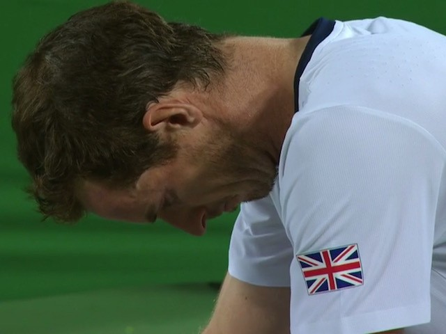 A teary Andy Murray celebrates winning the Olympic singles title in Rio on August 14, 2016