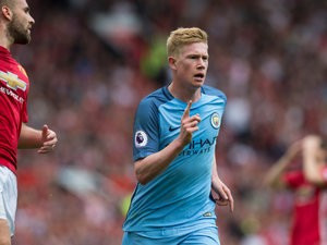 Manchester City playmaker Kevin de Bruyne celebrates giving his side the lead in the Manchester derby against Manchester United at Old Trafford on September 10, 2016