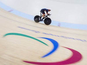 Louis Rolfe in action during the men's C1-2-3 1000m time trial on September 10, 2016
