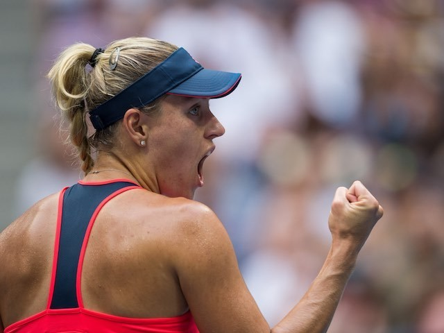 Angelique Kerber celebrates a point during the US Open final on September 10, 2016