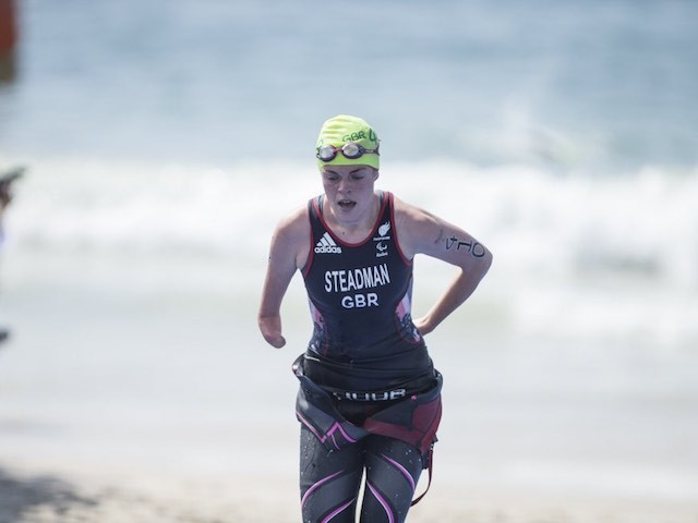 Lauren Steadman emerges from the water during the women's PT4 triathlon at the Paralympic Games in Rio de Janeiro on September 11, 2016