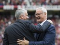 Jose Mourinho and Claudio Ranieri greet each other prior to the game between Manchester United and Leicester City on September 24, 2016