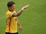 Watford defender Daryl Janmaat gestures during the Premier League match between Watford and Arsenal on August 27, 2016