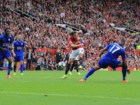 Juan Mata scores during the game between Manchester United and Leicester City on September 24, 2016