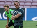 Celtic manager Brendan Rodgers in training ahead of his side's Champions League match against Barcelona at the Camp Nou