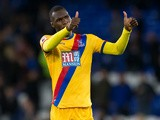 Crystal Palace striker Christian Benteke celebrates after scoring the equaliser during his side's 1-1 draw against Everton at Goodison Park on September 30, 2016