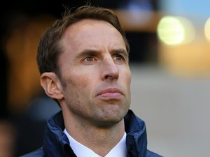 England Under-21s manager Gareth Southgate looks on during his side's match against Croatia Under-21 on October 10, 2014