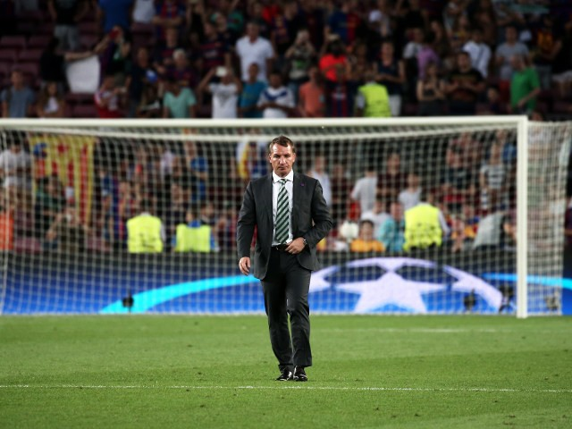 Celtic manager Brendan Rodgers on the Camp Nou pitch after watching his side lose 7-0 to Barcelona in the Champions League on September 13, 2016