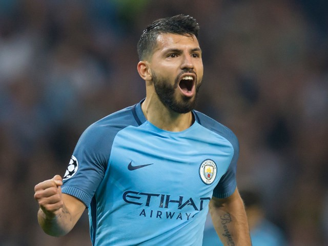 Manchester City's Sergio Aguero celebrates after scoring his second goal against Borussia Monchengladbach during the Champions League Group C match between Manchester City and Borussia Monchengladbach at the Etihad Stadium