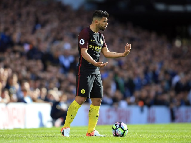 Manchester City striker Sergio Aguero calls for support during his side's Premier League clash with Tottenham Hotspur at White Hart Lane on October 2,2016