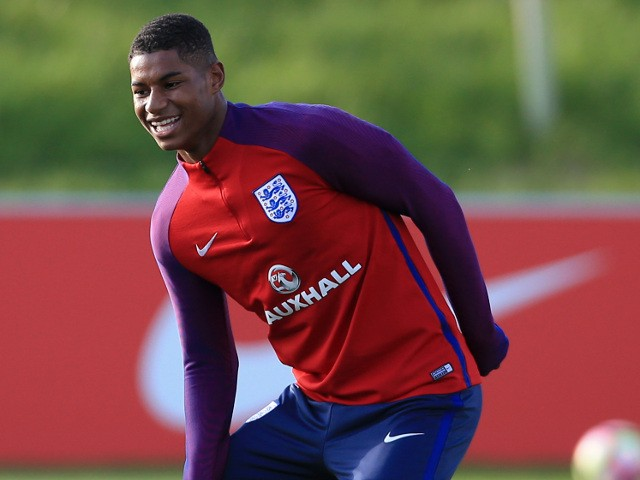 Manchester United striker Marcus Rashford trains with England ahead of their World Cup qualifiers against Malta and Slovenia