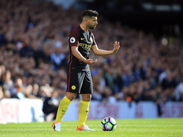Sergio Aguero in action during the Premier League match between Tottenham Hotspur and Manchester City on October 2, 2016