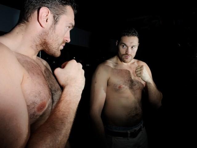 Tyson Fury looks at Tyson Fury in a November 2011 photoshoot