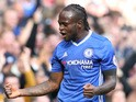 Chelsea winger Victor Moses celebrates scoring against Leicester City during their Premier League clash at Stamford Bridge on October 15, 2016