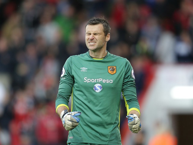 Hull City goalkeeper David Marshall winces during his side's 6-1 defeat to Bournemouth at the Vitality Stadium on October 15, 2016