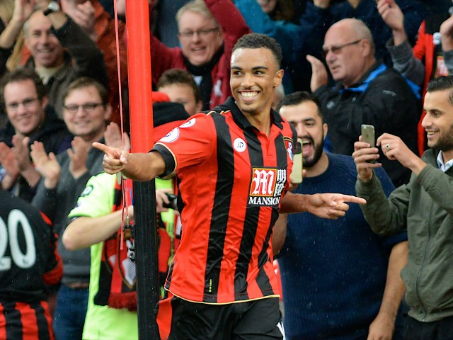 Bournemouth attacker Junior Stanislas celebrates scoring in his side's 6-1 victory over Hull City at the Vitality Stadium on October 15, 2016