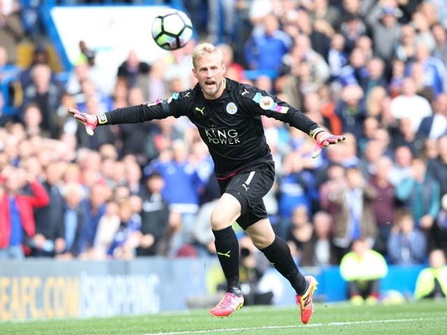 Leicester City goalkeeper Kasper Schmeichel in action during his side's Premier League clash with Chelsea at Stamford Bridge on October 15, 2016