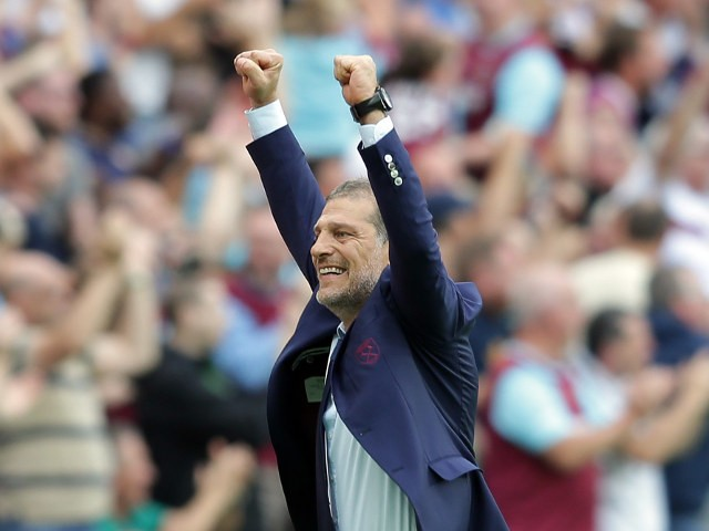 West Ham United manager Slaven Bilic punches the air after Michail Antonio of West Ham United opens the scoring during the Premier League match between West Ham United and Bournemouth at the London Stadium on August 21, 2016