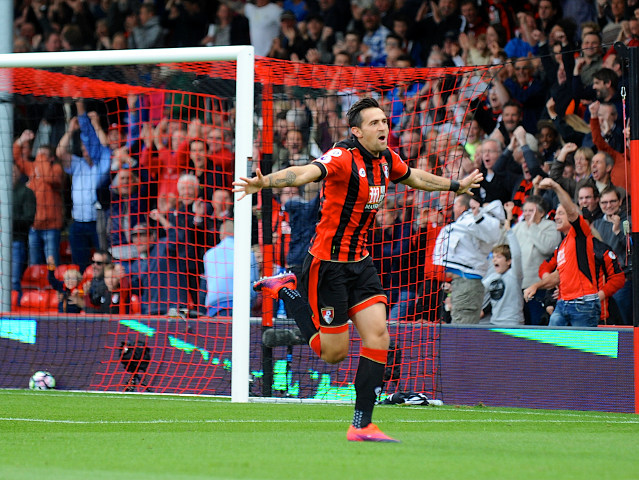 Bournemouth defender Charlie Daniels celebrates after scoring his side's opening goal in the Premier League clash with Hull City at the Vitality Stadium on October 15, 2016