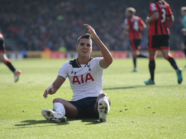 Tottenham Hotspur winger Erik Lamela complains during his side's Premier League clash with Bournemouth at the Vitality Stadium on October 22, 2016
