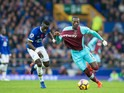 Everton midfielder Idrissa Gana Gueye tussles with West Ham United's Pedro Obiang during their Premier League clash at Goodison Park on October 30, 2016