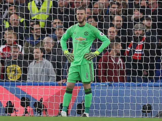 David De Gea can't believe his beautiful eyes during the Premier League game between Chelsea and Manchester United on October 23, 2016