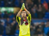 Everton goalkeeper Joel Robles in action during his side's Premier League clash with West Ham United at Goodison Park on October 30, 2016