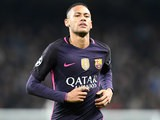Neymar of Barcelona in action during his side's Champions League clash with Manchester City at the Etihad Stadium on November 1, 2016
