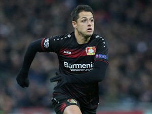 Javier Hernandez of Bayer Leverkusen in action during his side's Champions League Group E clash with Tottenham Hotspur at Wembley Stadium on November 2, 2016