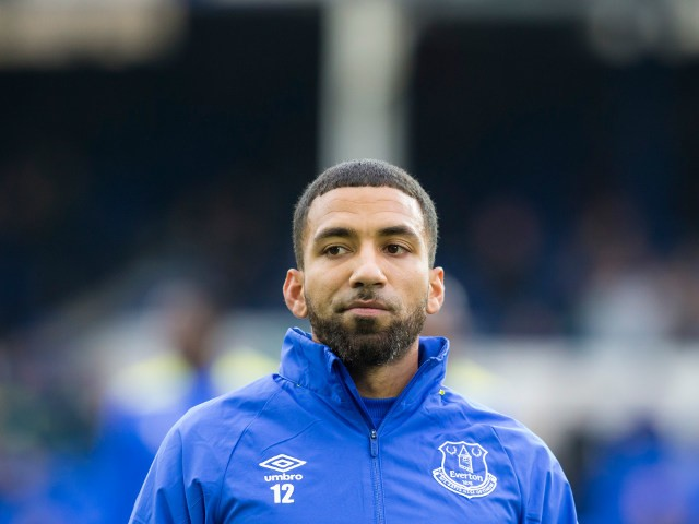 Everton midfielder Aaron Lennon lines up ahead of his side's Premier League clash with West Ham United at Goodison Park on October 30, 2016