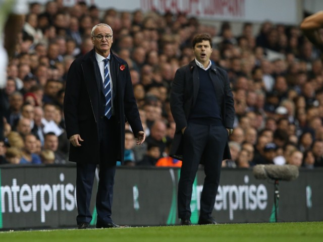 Leicester City manager Claudio Ranieri on the touchline with Tottenham Hotspur counterpart Mauricio Pochettino during the Premier League clash between the two sides at White Hart Lane on October 29, 2016