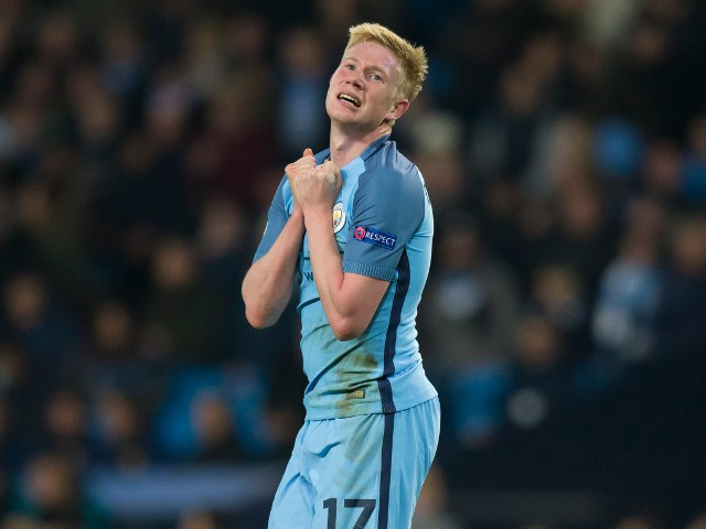Manchester City attacker Kevin de Bruyne in action during his side's Champions League clash with Barcelona at the Etihad Stadium on November 1, 2016