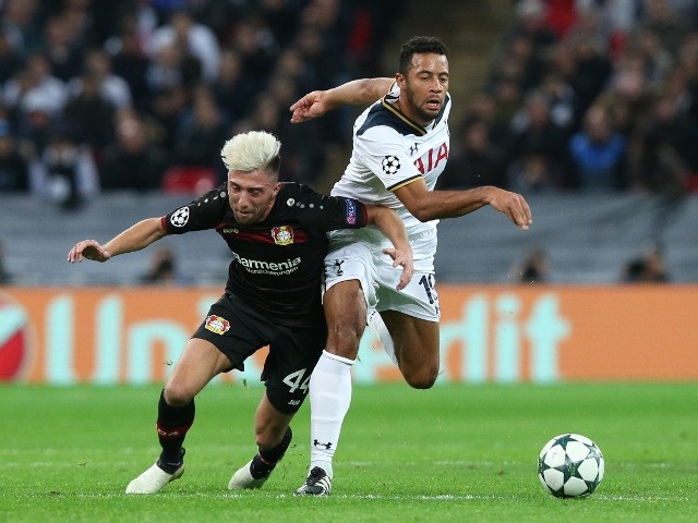 Bayer Leverkusen midfielder Kevin Kampl vies for the ball with Mousa Dembele of Tottenham Hotspur during their Champions League Group E clash at Wembley Stadium on November 2, 2016