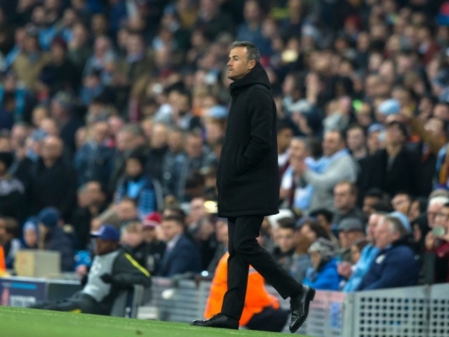 Barcelona boss Luis Enrique on the touchline during the Champions League clash with Manchester City at the Etihad Stadium on November 1, 2016