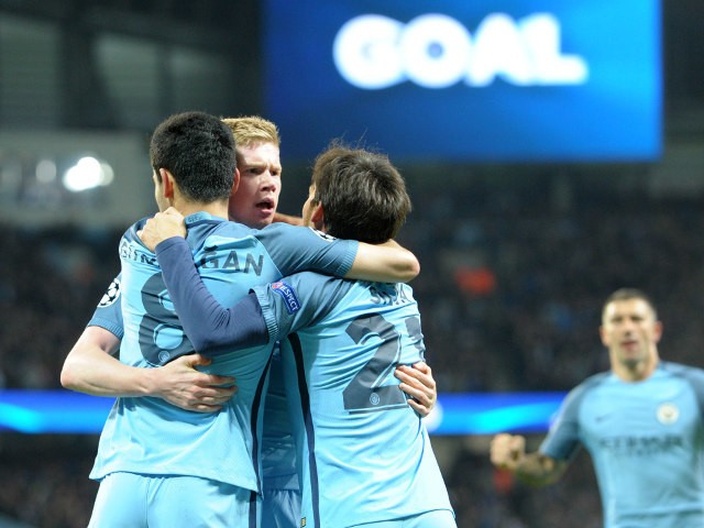 Manchester City players celebrate following Ilkay Gundogan's goal during their Champions League clash with Barcelona at the Etihad Stadium on November 1, 2016