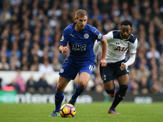 Leicester City striker Marc Albrighton in action during the Premier League clash with Tottenham Hotspur at White Hart Lane on October 29, 2016