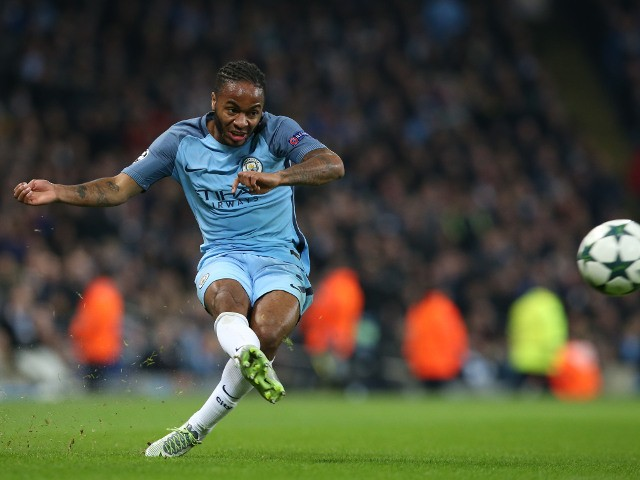 Manchester City winger Raheem Sterling crosses the ball during his side's Champions League clash with Barcelona at the Etihad Stadium on November 1, 2016