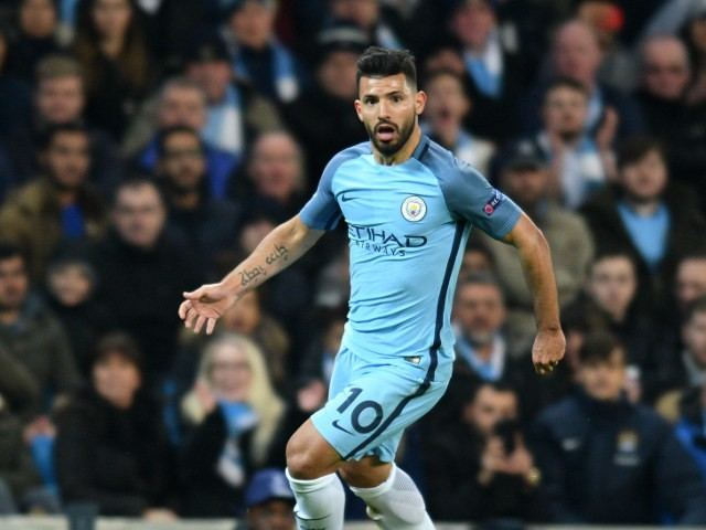Sergio Aguero of Manchester City in action during his side's Champions League clash with Barcelona at the Etihad Stadium on November 1, 2016